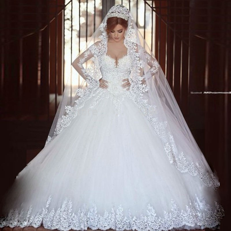 Vestido de novia de encaje de manga larga de lujo 2016 vestido de baile princesa boda romántico nupcial vestidos capilla Train robe de mariage