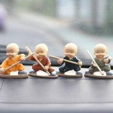 Figurines miniatures en résine Shaolin kung fu   figurines en résine de moine bouddhiste, décoration de voiture, cadeau pour enfants, souvenir décoration de maison