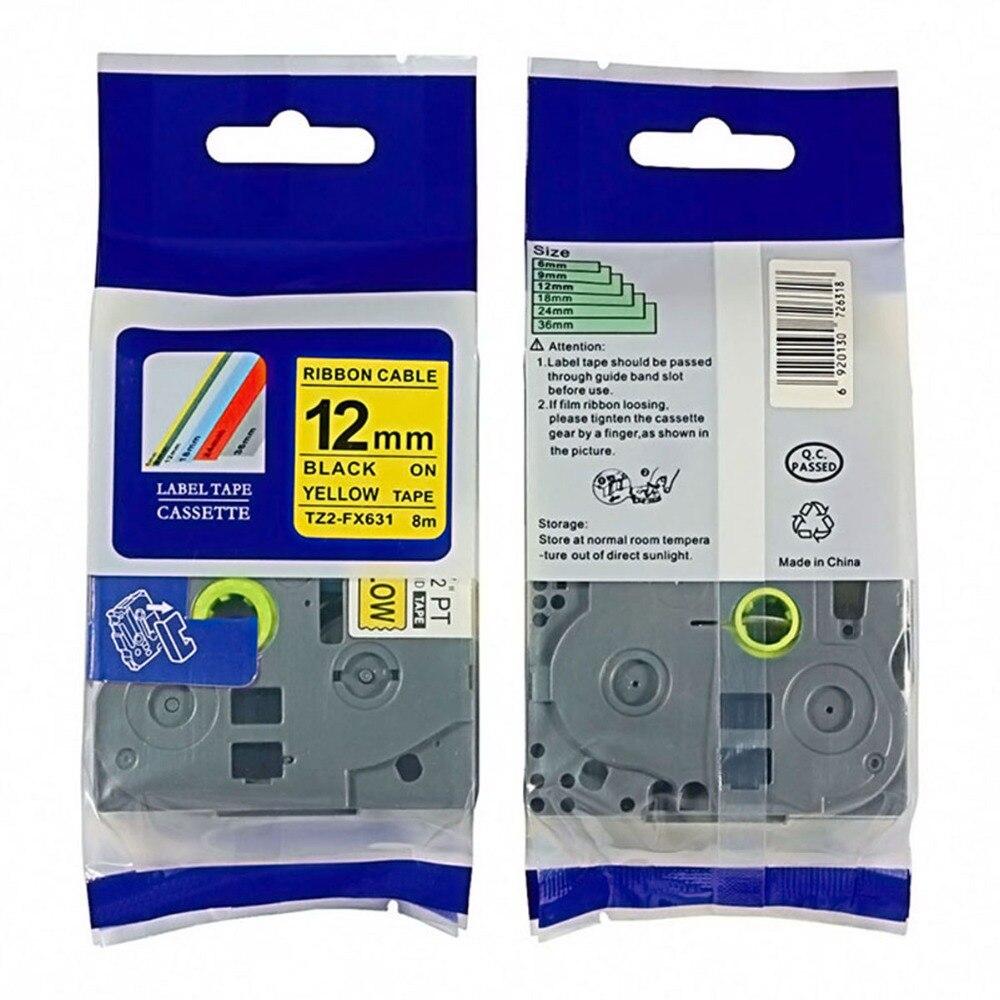 Tz fx631 etiqueta compatible con Brother tape tze cinta para tz 12mm * 8m negro sobre amarillo tze FX631 cintas de identificación flexibles p-touch label maker