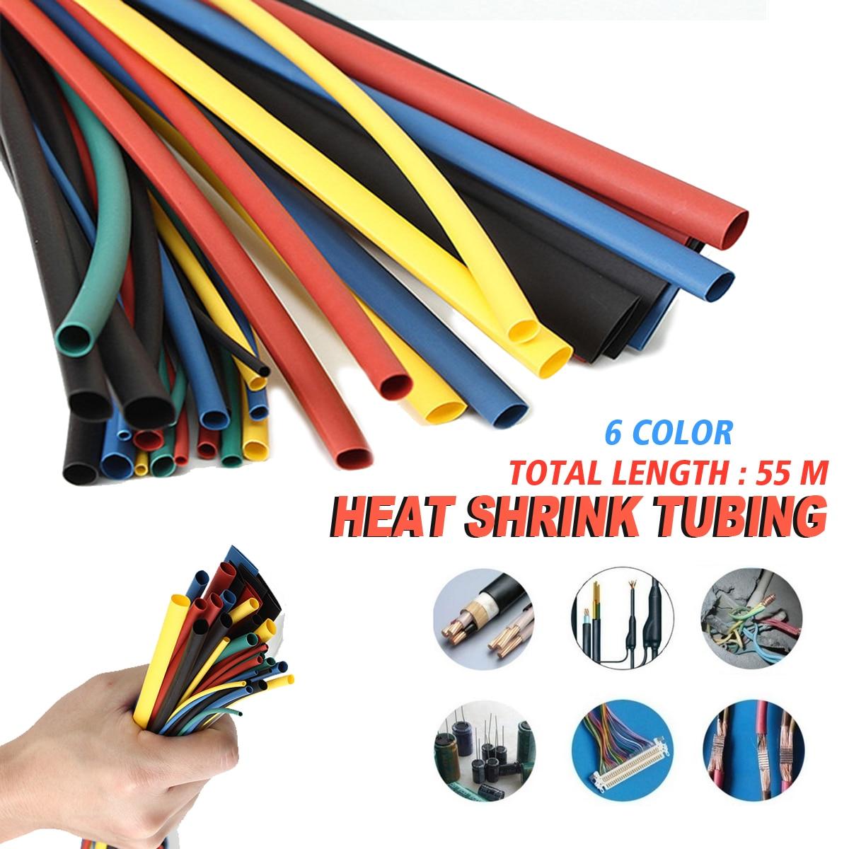 55M 6 Farbe 1,5/2,5/3,5/4,5/5,5/6,5/8,6/10,5/ 12,5/15,5/22mm Polyolefin 2:1 Schrumpfschlauch Rohr Elektrische Verbindung Sleeving