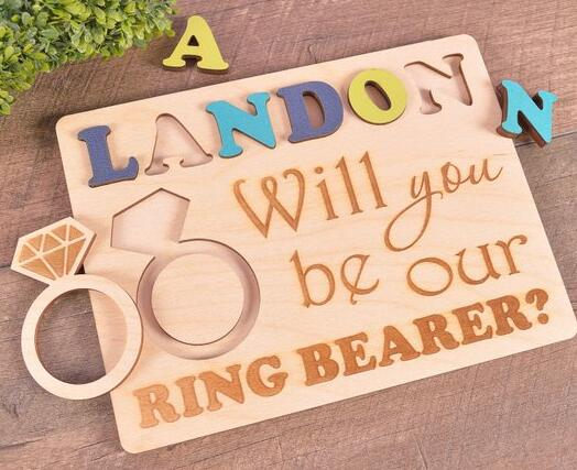 personalized any name will you be our ring bearer proposal Ask puzzles Ring Bearer gift flower girl ring bearer puzzles security
