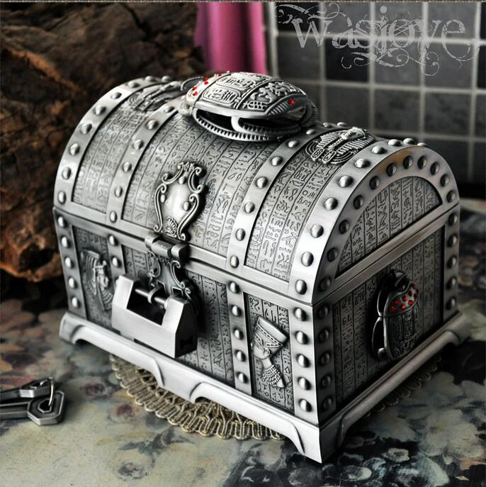 Egyptian style treasure chest with lock 2 layers vintage jewelry box carrying case trinkets packaging cosmetic storage box  Z058
