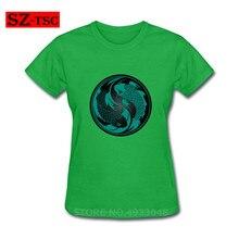 Teal azul y negro Yin Yang Koi pez impreso camiseta roja Camiseta 100% algodón camiseta moda mujer ropa tops Tees