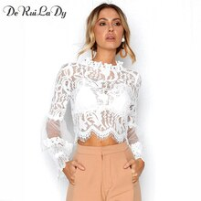 DeRuiLaDy Sexy Hol Witte Kant Blouse Shirt Vrouwen Elegante Flare Mouw Zomer Blouses Vrouwelijke Casual Lange Mouwen Tops Blusa