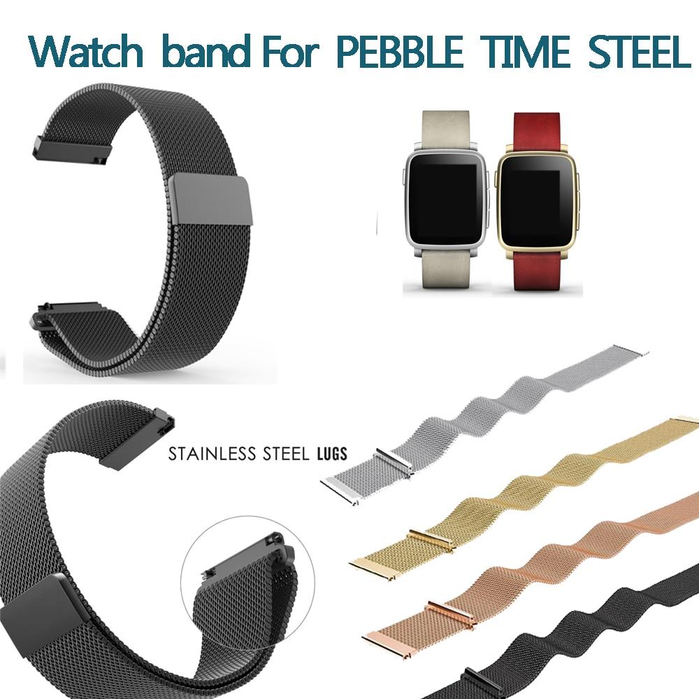 Correa de malla de 22mm de acero inoxidable para reloj Pebble Time Steel Xiaomi Huawei Amazon LG Watch W100/W110/W150