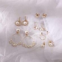 2020 Fashion Statement Earrings Big Geometric Pearl Beads Earrings For Women Girls Tassel Hanging Dangle Piercing Brincos Bijoux
