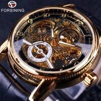 forsining 2017 hollow engraving skeleton casual designer black golden case gear bezel automatic watches men luxury brand watches