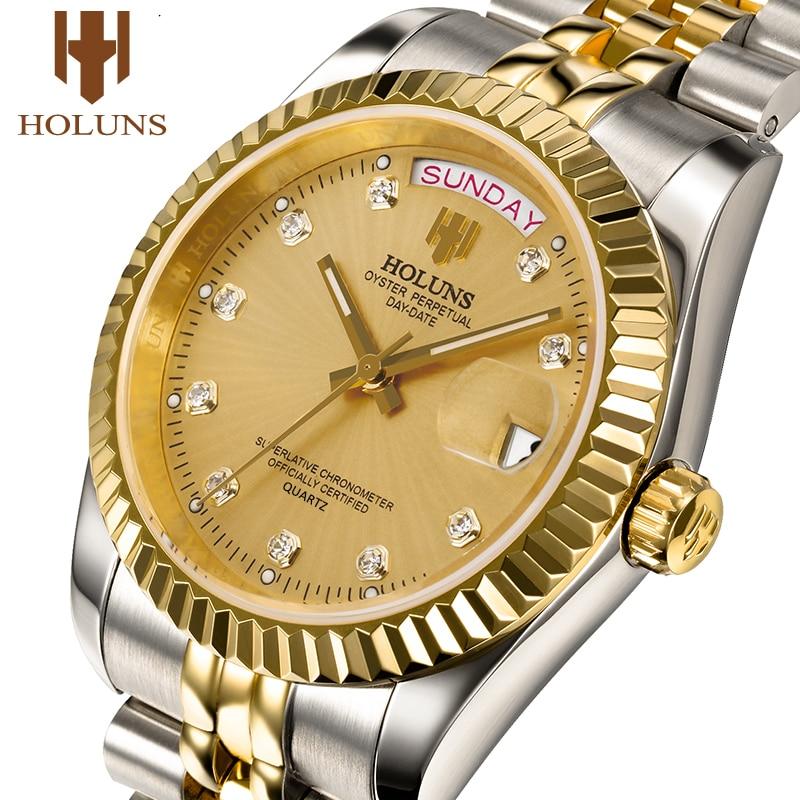 Holuns man watches 2020 brand luxury men gold quartz diamond waterproof gift dress watch relogio feminino fashion casual