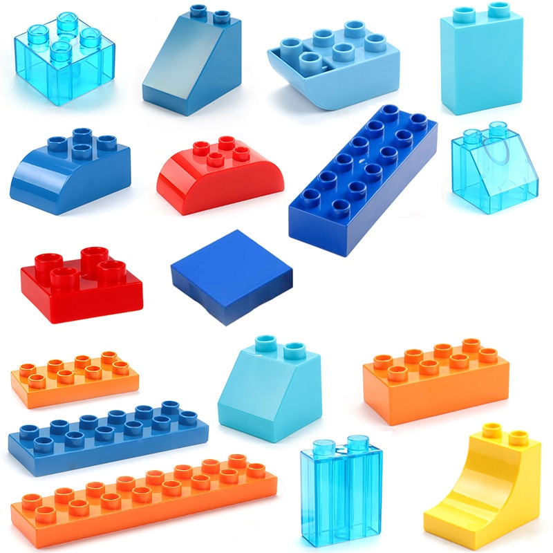 Big Size Duploe Train Building Blocks Bricks Accessory Compatible With Duplos base plate Transparent Square Toys for Children