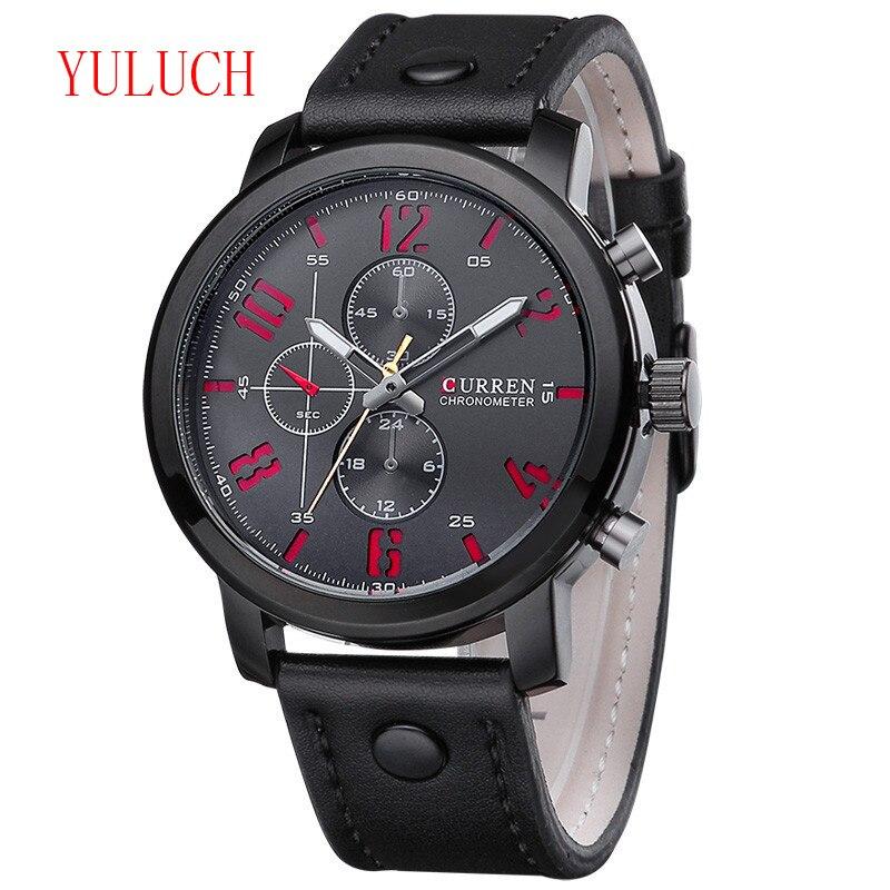 Reloj de cuarzo para hombre estilo de Caballero de negocios YULUCH, correa de cuero de marca de moda, reloj de doble hora para hombre, regalo