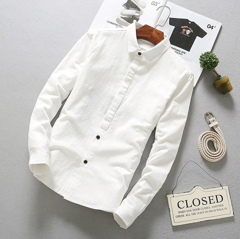 Solid Cotton Shirts Long Men Spring Autumn Linen Shirts Full Sleeve Slim Cotton Fashion Business Dress Shirt Men Clothes TS-183