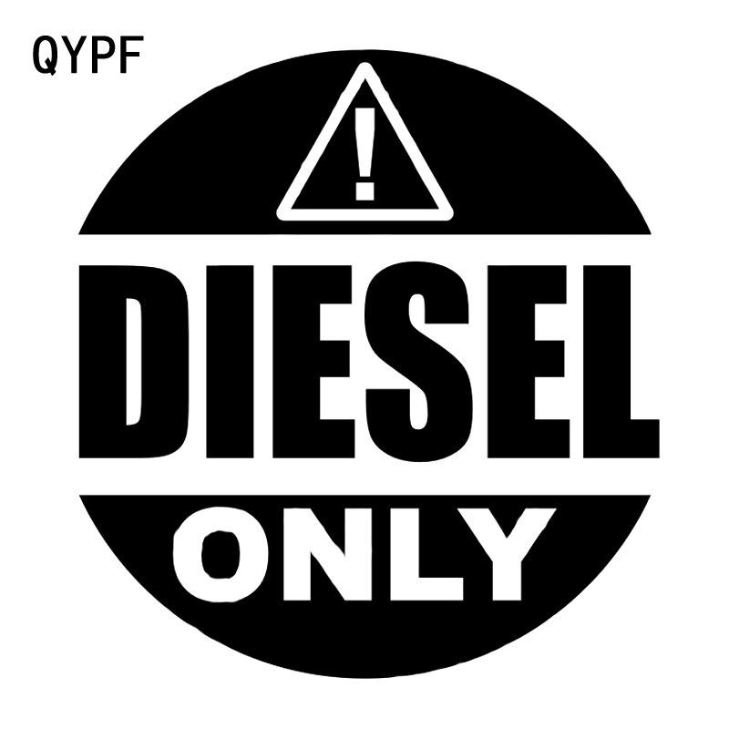 Qypf 13.1cm14.1cm marca de advertência diesel só etiqueta do carro preto/prata vinil decoração S9-2236