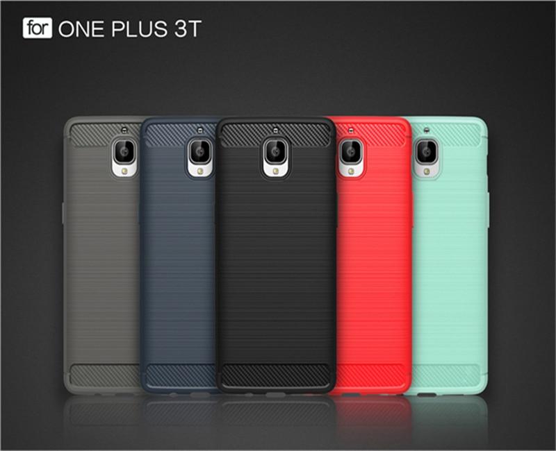 Funda de fibra de carbono ambiental para Oneplus 3/Oneplus 3T Capa suave antideslizante para One Plus 5/Oneplus 5 Fundas de teléfono