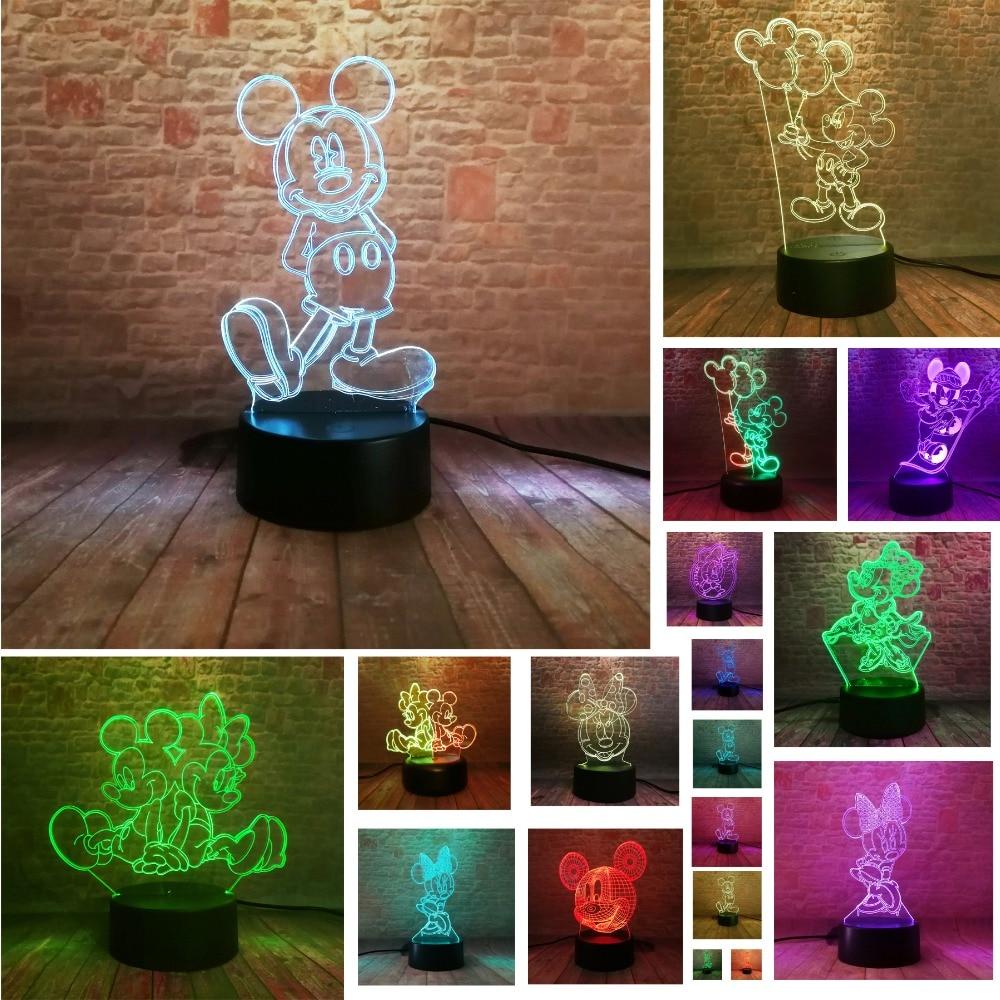 3D Mickey Minnie Mouse globo de acción figura 7 colores cambiar luz de noche niños dormitorio decoración niños niñas Fans Navidad juguetes regalos