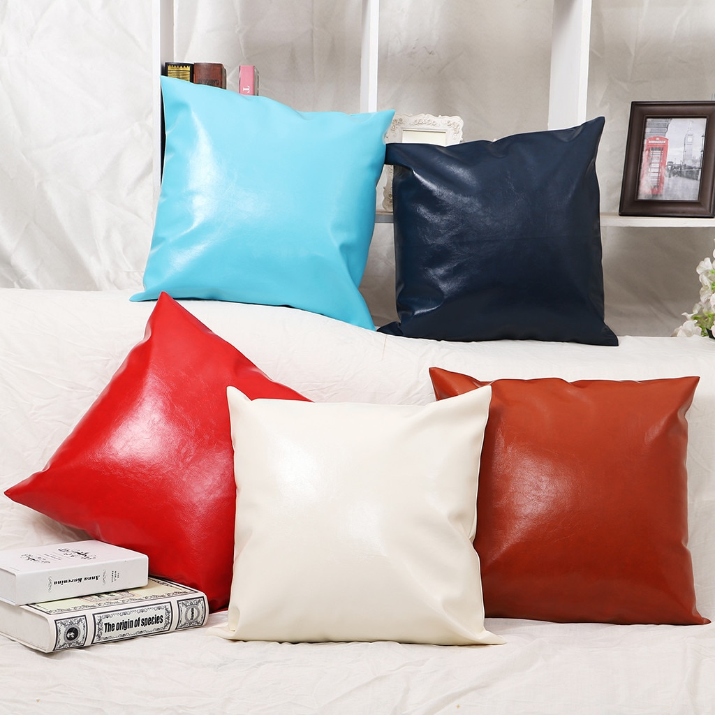45x45 1 шт., чехол из искусственной кожи, подушка из чистого атласа с эмуляцией, квадратный чехол для сиденья стула, Шелковый чехол для подушки, ...