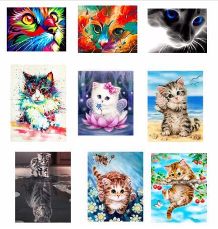 Patrón de Intertoys cuadrado bordado de diamantes DIY bordado lindo gato pintura de diamante pakket 3D 5D Rhinestones decoración pinturas