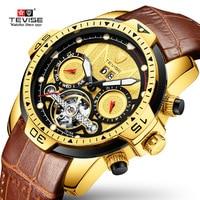 Watch Men TEVISE T816A Mens Watch Week Date Water Resistant Luminous Hands Mechanical Wristwatches Tourbillon Male Clock 2020