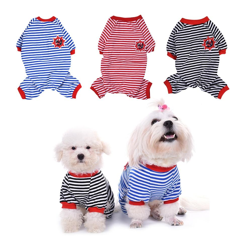 Модный хлопковый Пижамный комбинезон в полоску для собак и щенков, мягкий удобный теплый комбинезон для сна