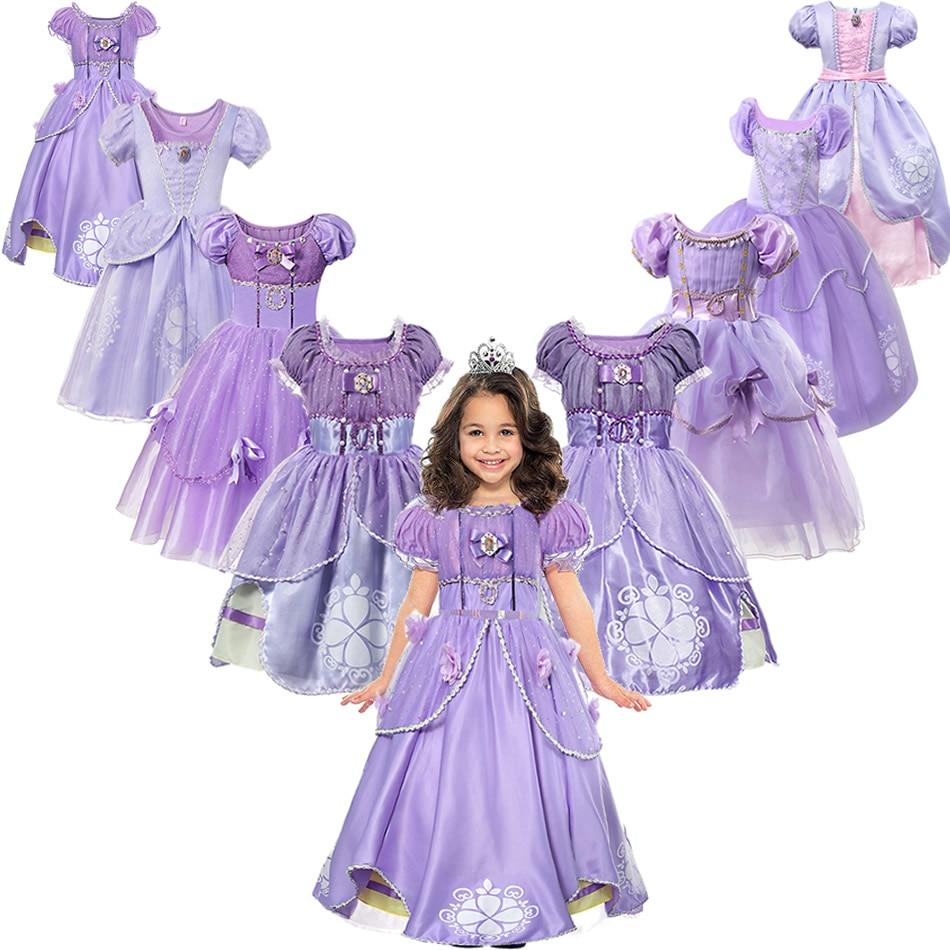 Sofia Princess Dress Per Le Ragazze Del Bambino Della Ragazza Sofia Cosplay Costumi Bambini Vestiti Del Partito Floreale Dei Bambini di Stampa Formale Viola Abiti