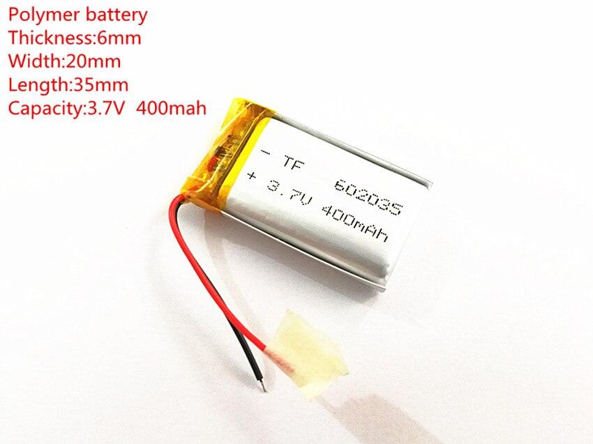 (10 pezzi/lottp) 3.7 V 602035 400 mah agli ioni di litio batteria ai polimeri di qualità delle merci di qualità di autorità di certificazione CE FCC ROHS