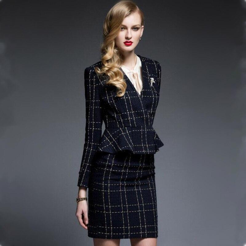 Falda trajes de oficina para mujer conjunto de dos piezas Ropa de Trabajo Formal elegante para mujer OL 2019 recién llegado uniforme de talla grande XXXL