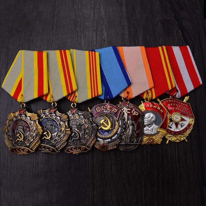 CCCP USSR Medal WWII Lenin Red Flag Venus Red Star Hero Soviet Labor Glory Medal I II III Level Labor Glorious Honor Badge