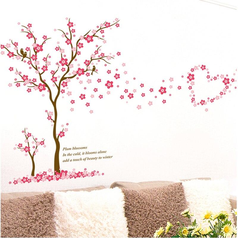 Купить с кэшбэком 3D Pink Plum flower tree love Wall Stickers PVC Living room Bedroom Background decoration Mural Art Decals home decor sticker