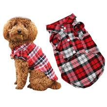 Ropa de perro mascota cachorro suave Primavera Verano camisa a cuadros trajes ropa de Mascota para perros pequeños camisetas Yorkies Chihuahua ropa 1c28