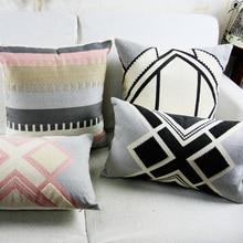 Housse de coussin Aztec géométrique   Vintage, gris rose, broderie géométrique, pour canapé-lit, décor de maison Simple, 45x4 5cm/30x50cm