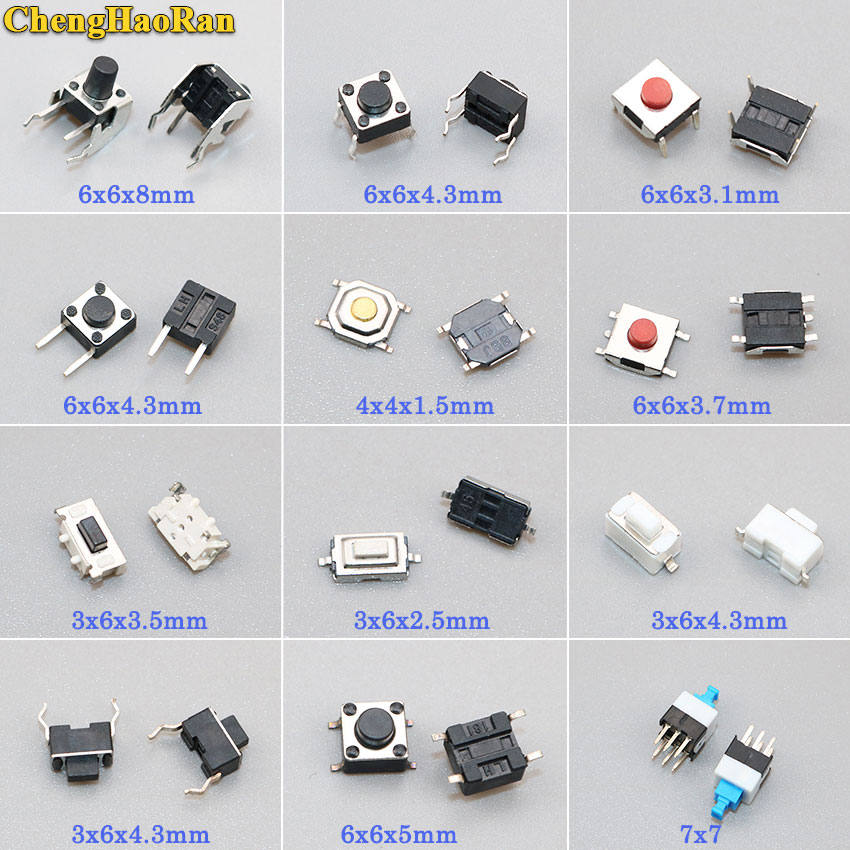 ChengHaoRan 12 моделей 24 шт. 60 шт. 120 шт. тактильных переключателей кнопочный SMD тактовый переключатель