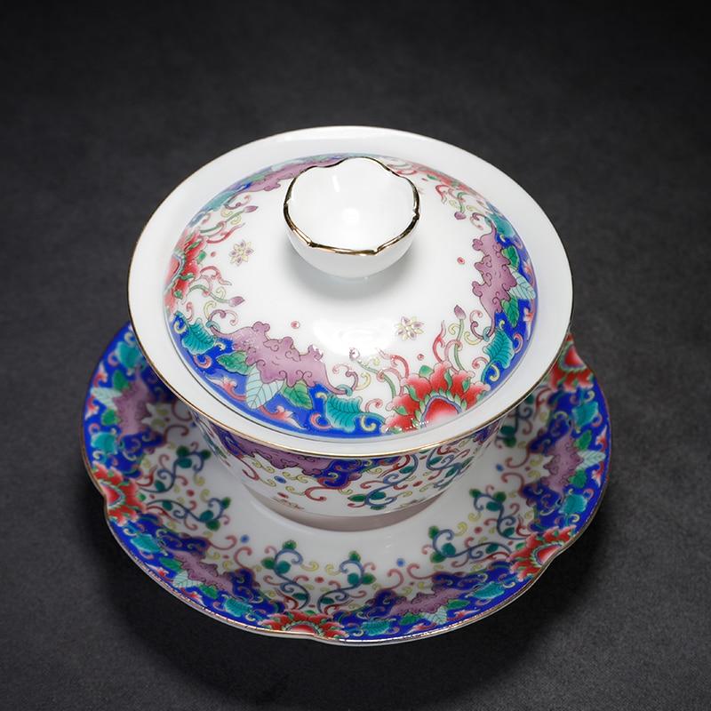 150ml Jingdezhen esmalte Gaiwan cerámica porcelana Drinkware Oficina Kung Fu té Set maestro tazón de té con tapa platillo regalos creativos