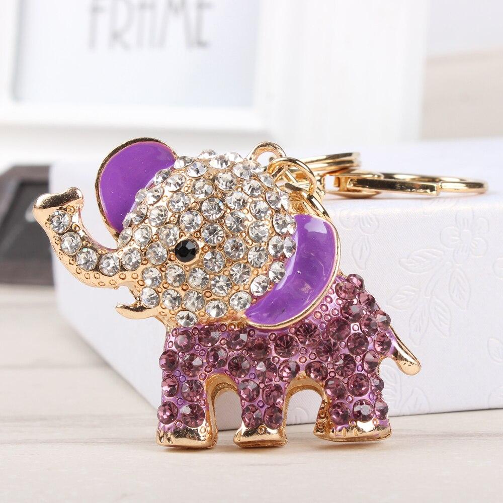 Elefante púrpura encantador colgante de cristal creativo, colgante para bolso, llavero cadena para coche, regalo Original hecho a mano