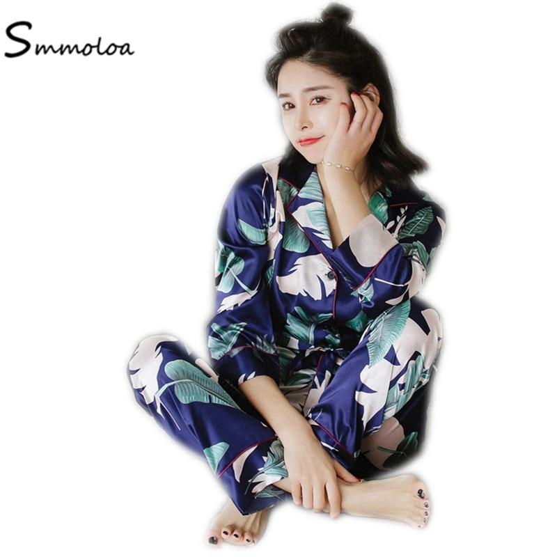 Smmoloa Neue Frühling Sommer Satin Lange Pyjama Drucken Silk Pyjamas Frauen