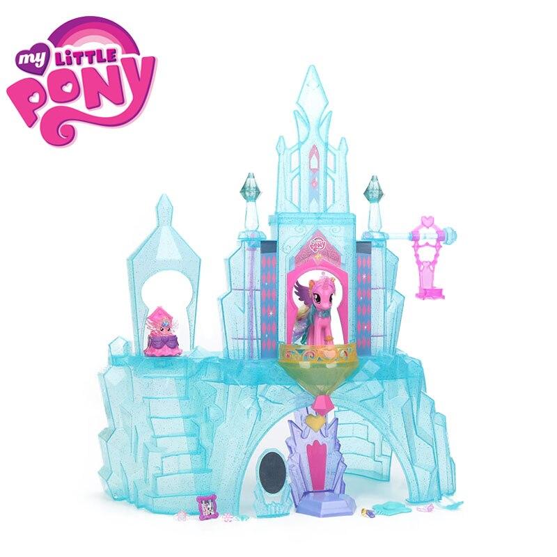 Juguetes de My Little Pony para niña, Casa con castillo de cristal, la amistad es una princesa mágica, cuadros de bebé, muñecos de modelo de colección