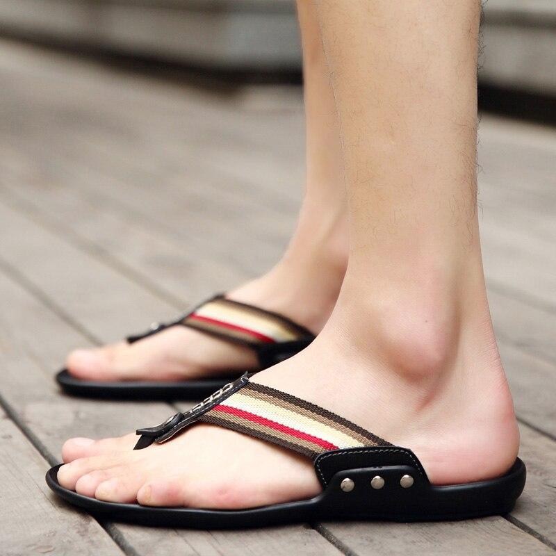 Chanclas antideslizantes para Hombre, zapatillas de playa de verano para Hombre, zapatillas informales transpirables a la moda de marca para Hombre, Chanclas negro