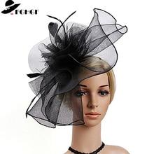 Mulheres de alta qualidade malha pena fascinator chapéus senhoras kenucky derby coquetel casamento chapéus elegante bandana hairband