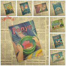 Ponyo On The Cliff Miyazaki Hayao Cartoon Movie Kraftpapier Poster Bar Cafe Woonkamer Eetkamer Kind Kamer Decoratieve Schilderijen
