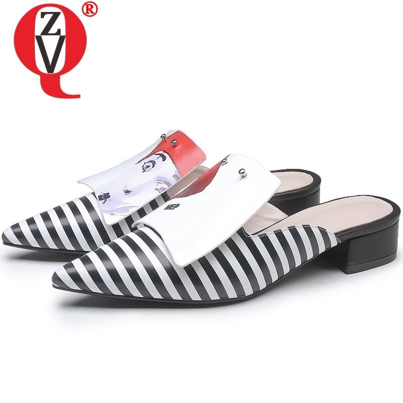 Женские шлепанцы ZVQ, из натуральной кожи, с острым носком, Каблук 3,5 см, 2019