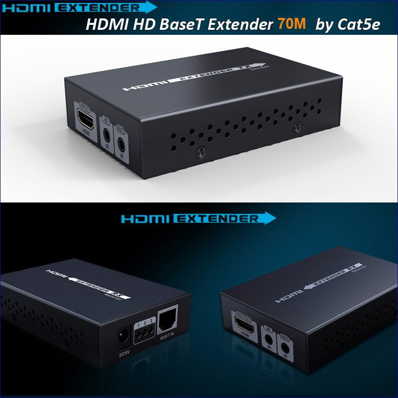 Nuevo HDBaseT código HDMI Extender sobre cat5e/6 cable HDMI extensor IR control HDMI 1,4 V hasta 70 M 3D 4 K x 2 K con adaptador de corriente de 12 V