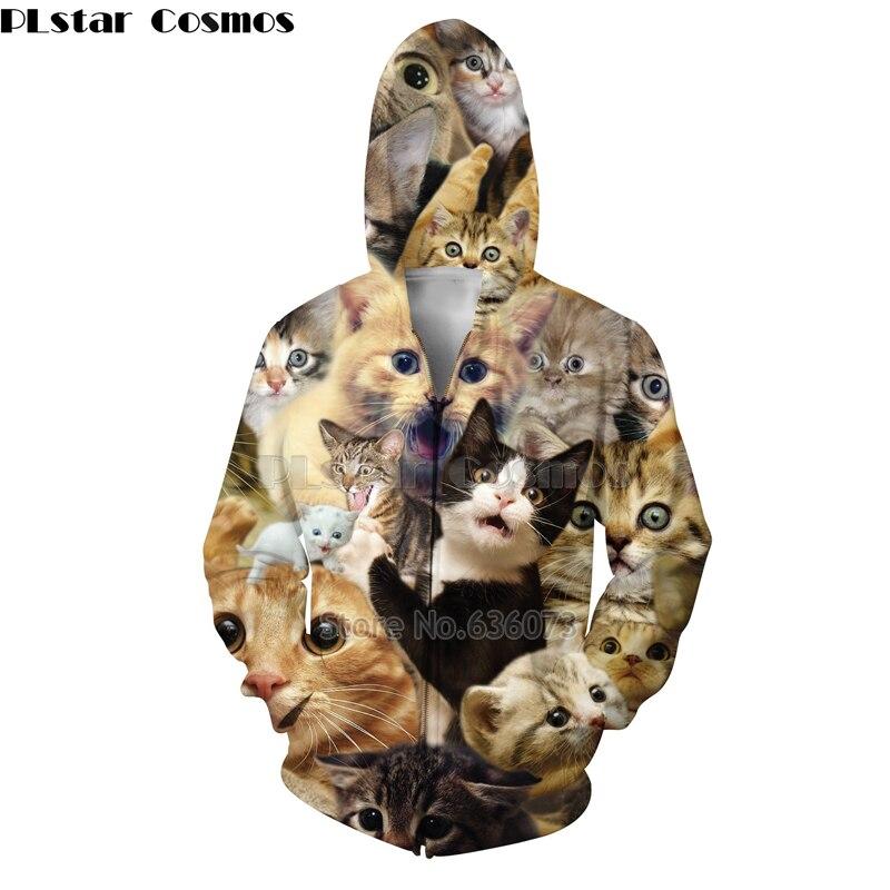 PLstar Cosmos 2018 nueva moda cremallera Sudadera con capucha Animal lindo gato estampado de collage 3d hoodies hombres/mujeres Hoody Jacket Drop shipping