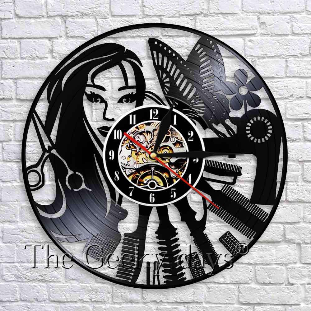 Barber Shop Wand Kunst Dekor Barber Instrument Schallplatte Wanduhr 3D Wand Uhren Modernes Design Schönheit Salon Decor