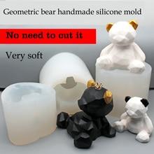 Bear Silicone Gypsum Mold Geometric bear silica gel plaster mold soft silicone mold bear decoration concrete mold