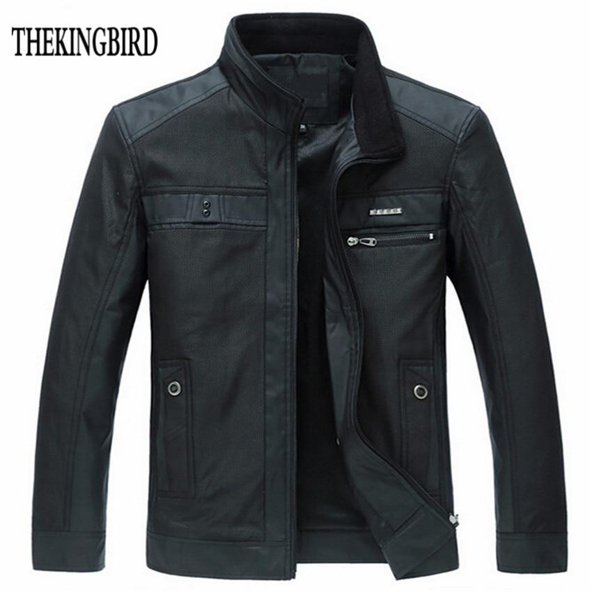Chaquetas de hombre PRIMAVERA/Otoño 2016 Nuevo estilo europeo de ocio chaqueta de hombre de manga larga delgada de negocios hombres abrigo 4XL cremallera negro