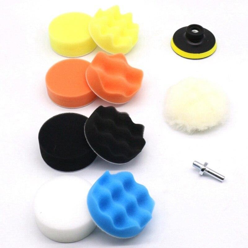 "11Pcs 3"" Waffle Buffer Compound Waxing Polishing Wheel Tool Sponge Pad Drill Adapter Kit Set Auto Car Polisher Cleaning"