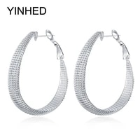 yinhed unique frosted big earrings for women 100 925 sterling silver drop earring party jewelry gift ze059