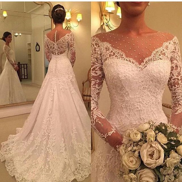 Vestido de Noiva 2020 Long Sleeve Wedding Dress A Line Sheer Neck Wedding Dress Lace Bridal Gown Robe De Mariage Custom Made