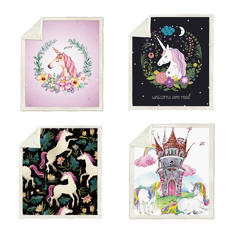 Unicorn Blanket Plush Fleece Blanket Soft Warm Bed Throw Blankets Cartoon Quilt Air condition Weighted Blanket Dropshipping