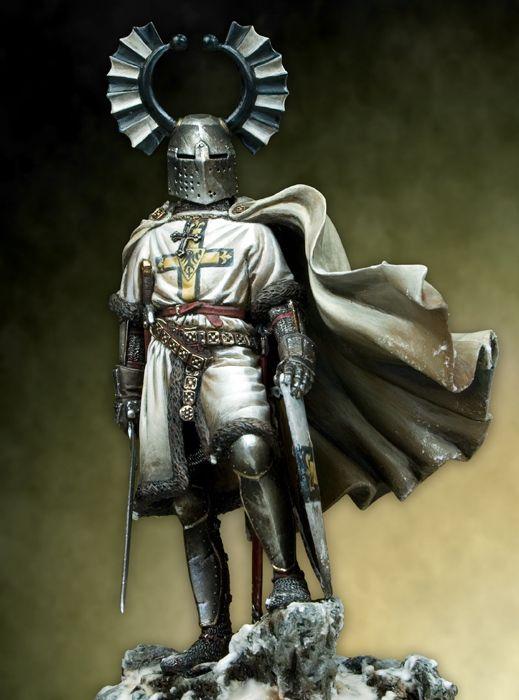 1/18 figura de resina de 90mm caballeros Teutonic medievales