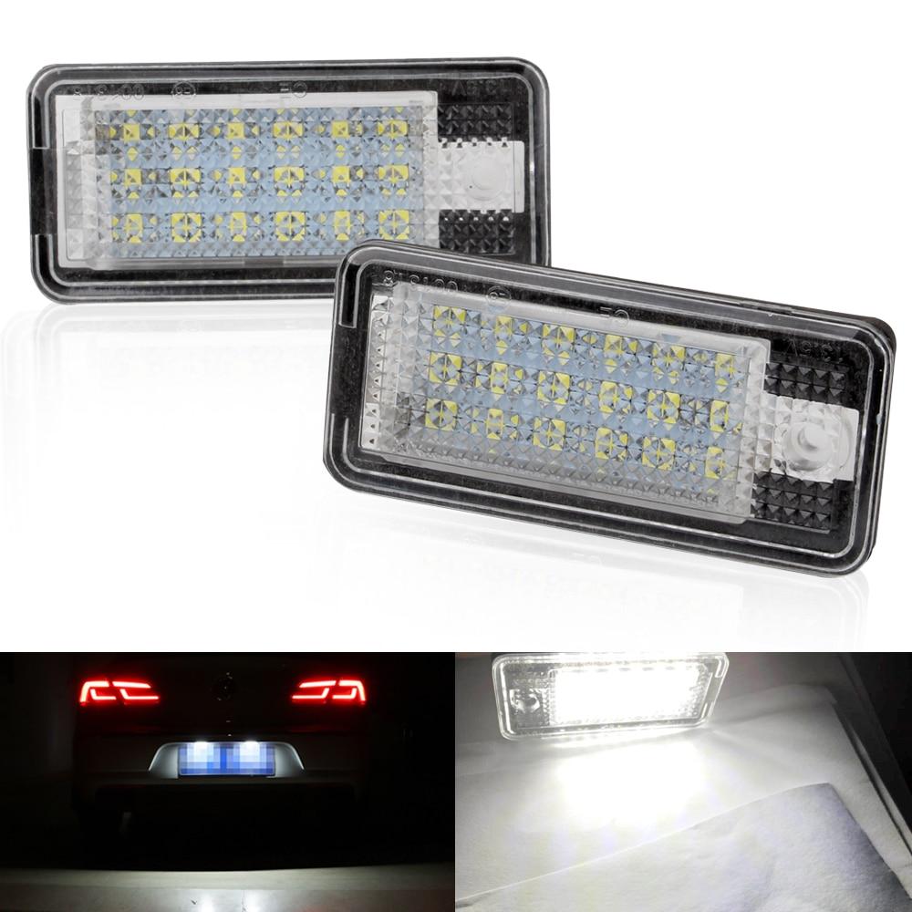 Luces de LED para matrícula de coche para Estilismo de coches de 2 uds. De 12V para Audi A4 b6 8E A3 S3 A6 c6 Q7 A4 b7 A8 S8 S6 RS4 RS6, accesorios