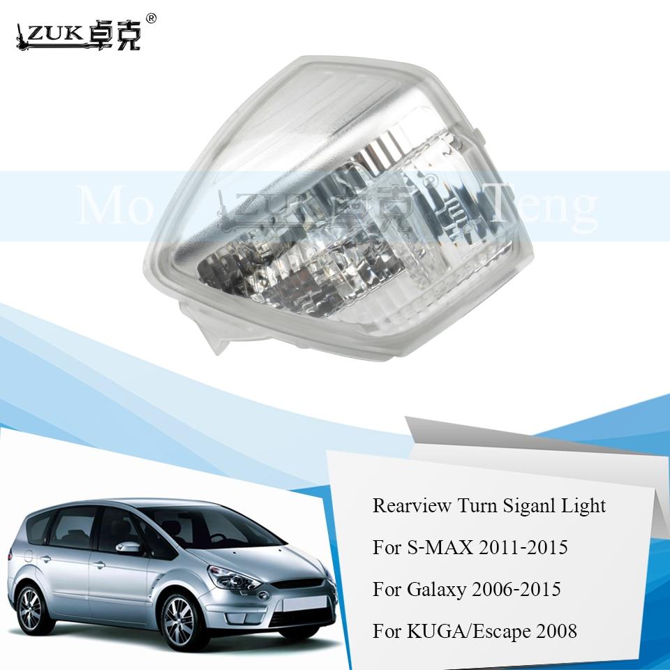 ZUK Auto para señal de giro de espejo retrovisor luz lado repetidor lámpara para Ford S-MAX Galaxy 2006-2015 C-MAX 2011-2015 KUGA ESCAPE 2008